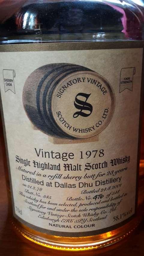 Dallas Dhu 1978/2001 cask 345 - Signatory