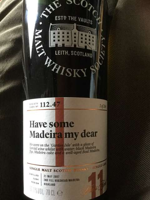 The Scotch Malt Whisky Society 11 year old 2007/2019 Have Some Madeira My Dear cask 112.47